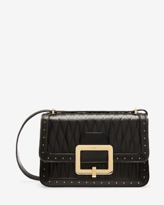 Women's quilted calf leather shoulder bag in black