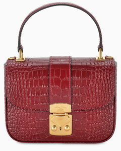 Burgundy croco-print bag