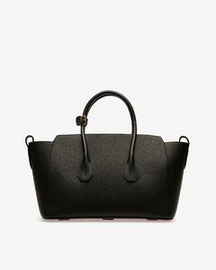 Women's medium leather tote bag in Black