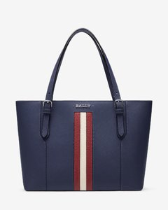 Women's leather tote in marine