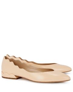 Lauren peach leather ballet pumps