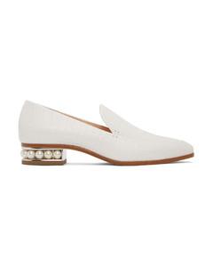 白色Casati鳄鱼纹莫卡辛鞋