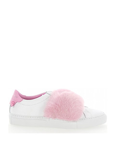 Slip-On Sneakers leather white mink fur pink