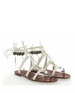 Sandals ZODIAC leather white metal embellished