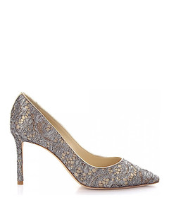Pumps ROMY 85 leather gold lace silver