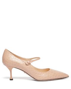 Mary-Jane crocodile-effect leather pumps