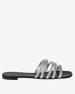 sandal in laminated leather with rhinestones