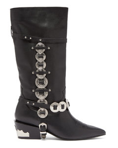 Western embellished leather boots