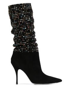 镶嵌细高跟高筒靴