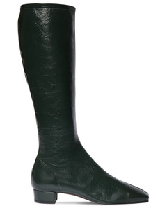 30mm Edie Creased Leather Tall Boots