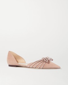 Kaitence水晶缀饰绒面革尖头平底鞋