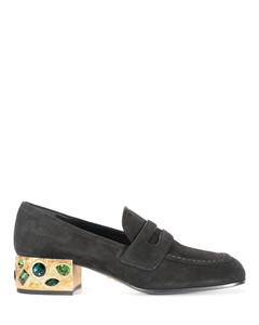 Jewel heel suede court shoes