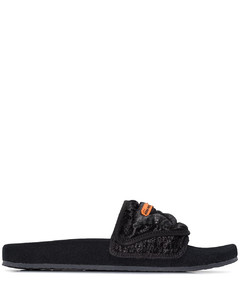 black quilted sandals