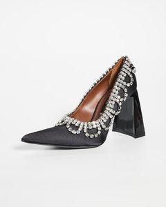 """扇贝饰边水晶 """"A"""" 鞋跟浅口鞋"""