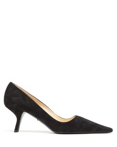Squared point-toe suede pumps