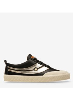 Women's plain calf leather low-top trainer in black