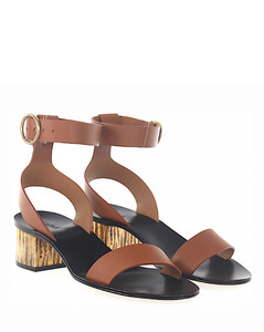 Sandals leather brown metal block heel