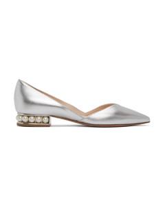 银色Casati D'Orsay芭蕾平底鞋
