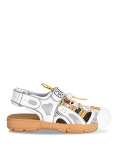 White leather and mesh Tinsel sandals