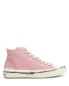 Painted-logo canvas high-top trainers