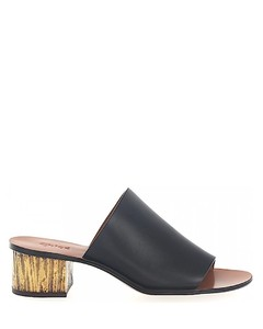 Loafer leather black metal block heel