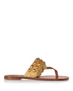 棕色皮革硬币凉鞋