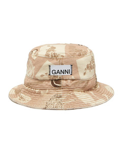 Logo-print denim bucket hat