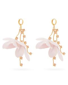 Flower-drop crystal-embellished earrings
