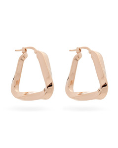 Twisted-triangle rose-gold hoop earrings