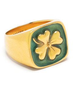 Leather & 18kt gold-plated choker