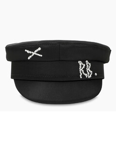 Black satin Baker Boy hat