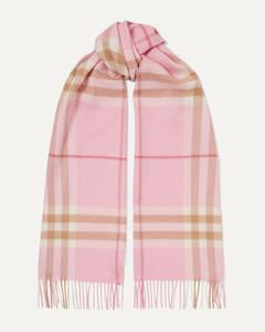 流苏格纹羊绒围巾
