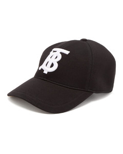 Embroidered monogram cotton-jersey cap