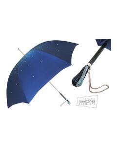 Women Manual opening Double cloth Swarovski umbrella Blue