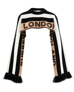Logo Cashmere Jacquard Capelet with Sleeves