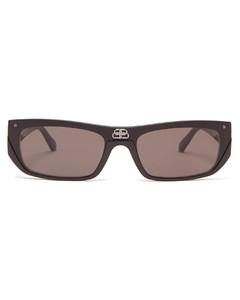 Shield slim rectangular acetate sunglasses