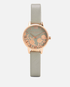 Women's Lace Detail Watch - Grey/Rose Gold