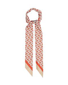 TB logo-print silk-faille scarf