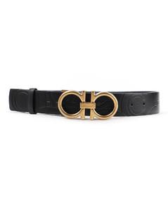 Gancini pattern leather belt