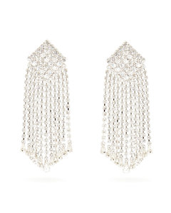 Crystal-cascade square clip earrings