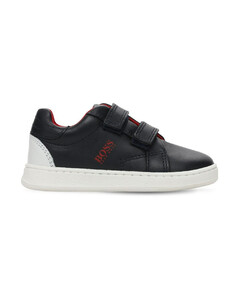 Faux Leather Strap Sneakers
