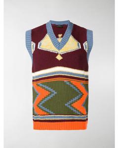intarsia V-neck sweater vest