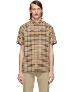 驼色George格纹短袖衬衫
