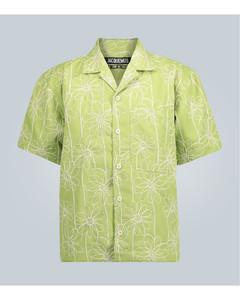 Jean刺绣大廓形衬衫