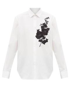 Flower-embroidered cotton-poplin shirt