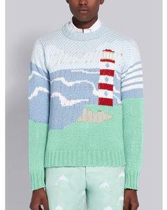 Multicolor Cotton Crepe Sea Scenic Crewneck Pullover