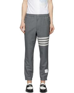 灰色4-Bar羊毛平纹梭织运动裤