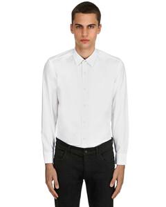 修身格纹细节府绸棉衬衫
