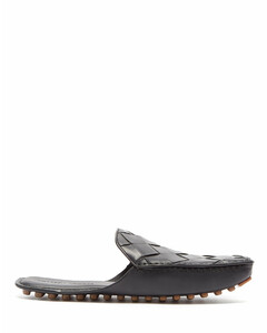 Intrecciato backless leather slippers