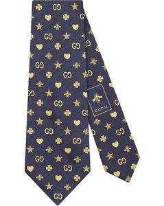 Symbols motif silk tie